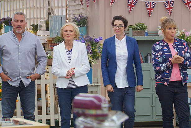 WARNING: Embargoed for publication until 00:00:01 on 13/09/2016 - Programme Name: The Great British Bake Off 2016 - TX: n/a - Episode: n/a (No. 5) - Picture Shows: **NOT FOR PUBLICATION BEFORE 00:01 HOURS ON TUESDAY 13TH SEPTEMBER 2016**  Paul Hollywood, Mary Berry, Sue Perkins, Mel Giedroyc - (C) Love Productions - Photographer: Love Productions